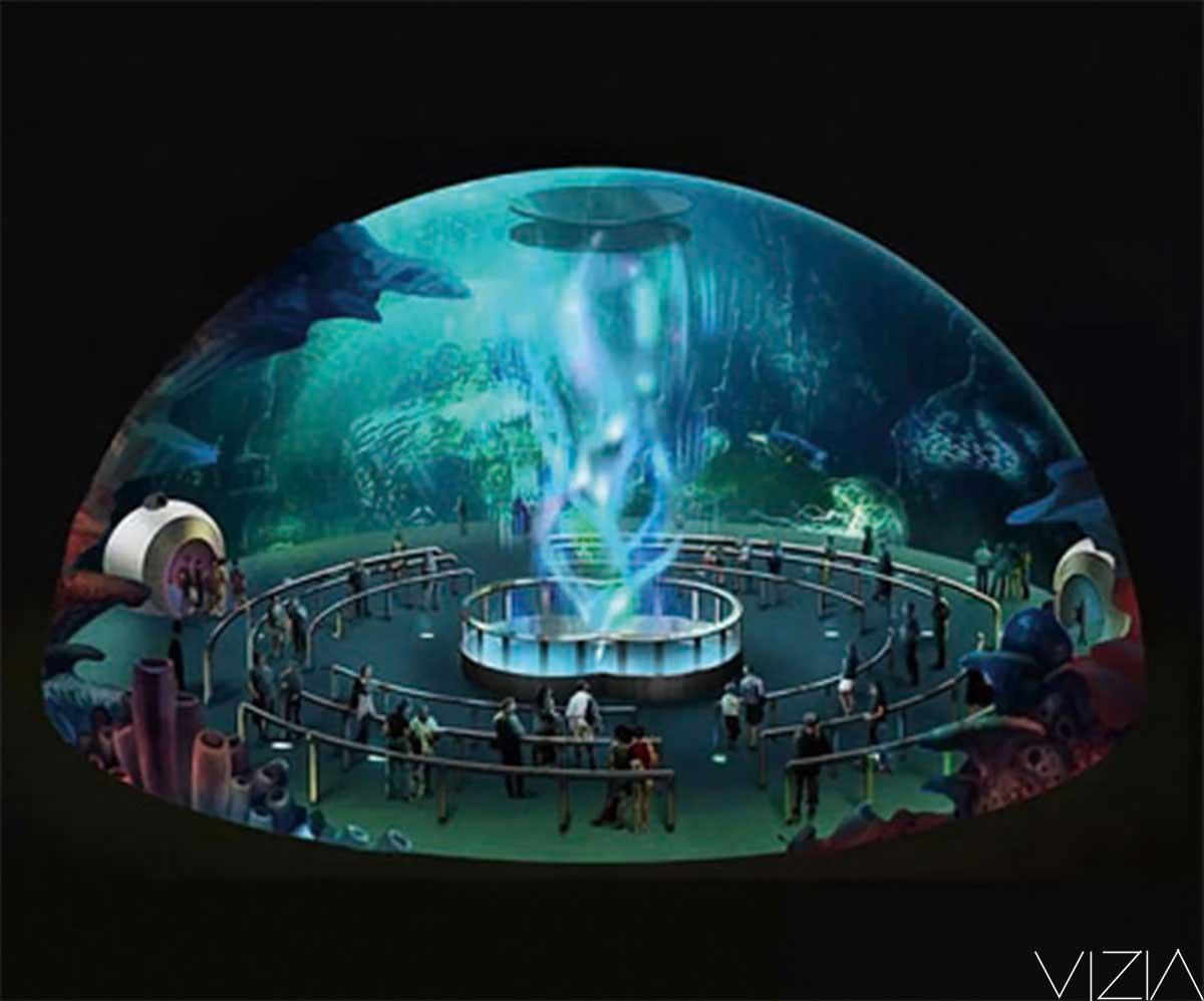球幕投影技術,投影方式分類,可分為外投方式和內投方式。 外投,就是通過四臺投影機從四個方向從外部對球幕進行投影,通過邊緣融合技術呈現出球形無縫逼真畫面,并能保證畫面不變形,畫質清晰,色彩艷麗。將外投球懸掛在大廳中,即可創造出超炫動感的視覺效果。 內投,就是將投影儀置于球幕底部,搭配一臺魚眼鏡頭,將信號反射并投射到球面屏幕顯像。內投球裝置,憑借其特種功能樹脂質地球幕和高流明投影儀的配用,可在球幕表面形成渾然一體的畫面展示,并支持多視窗、多畫面的展示,能非常穩定、生動地把設計制作好的文字、圖案、動畫、視頻清晰
